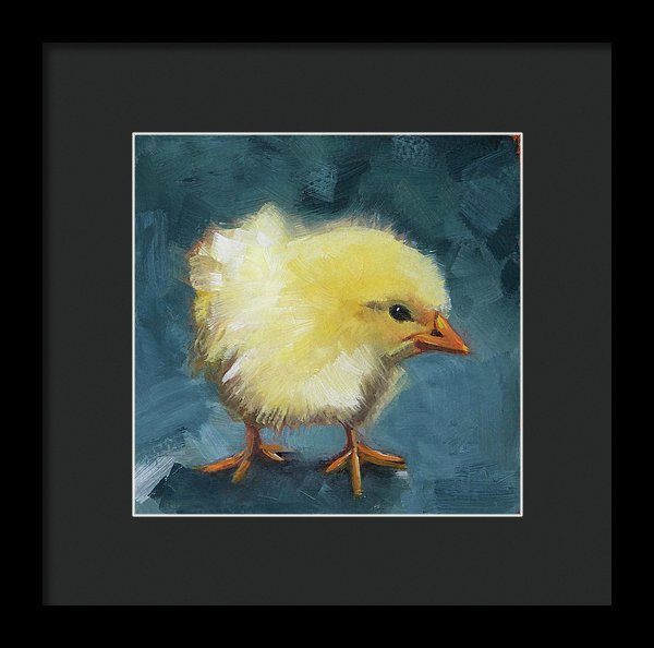 Yellow Chick On Green - Framed Print - Andie Freeman