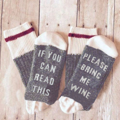 1 Pair Unisex Socks If You can read this Bring Me a Glass of Wine Funny Letter Handled