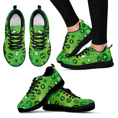 Girl Scouting Badges Pattern Green White Sneakers S2