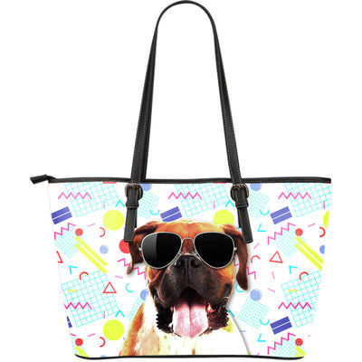 Boxer Wearing Sunglasses Fashionable Pattern Leather Bag