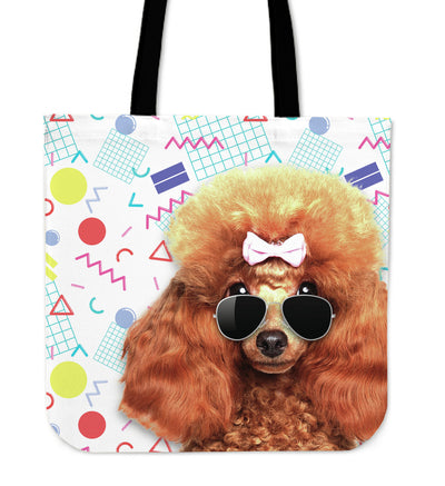 Poodle Wearing Sunglasses Fashionable Pattern Tote Bag