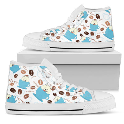 Coffee Samoyed Fabric Pattern High Top Shoes
