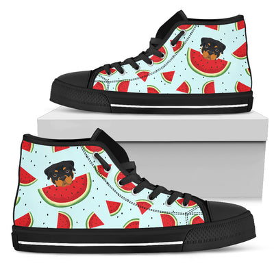Eating Watermelon Rottweiler Pattern High Top Shoes
