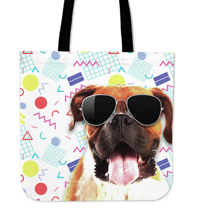 Boxer Wearing Sunglasses Fashionable Pattern Tote Bag