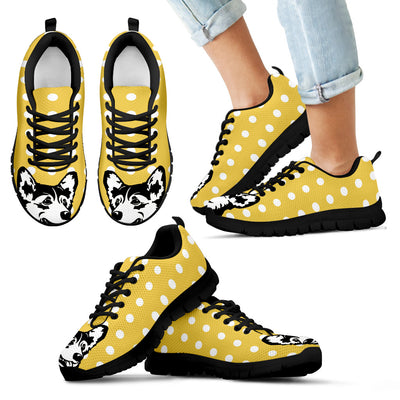 Corgi Face Pastel Yellow White Dot Vintage Sneakers