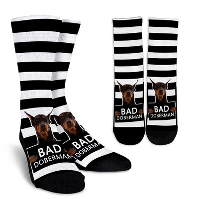 Striped Socks Bad Doberman Socks
