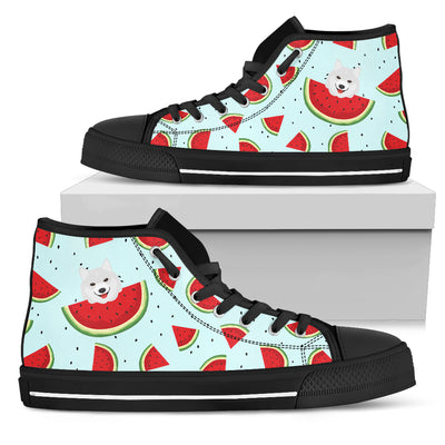 Eating Watermelon Samoyed Pattern High Top Shoes