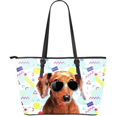 Dachshund Wearing Sunglasses Fashionable Pattern Leather Bag