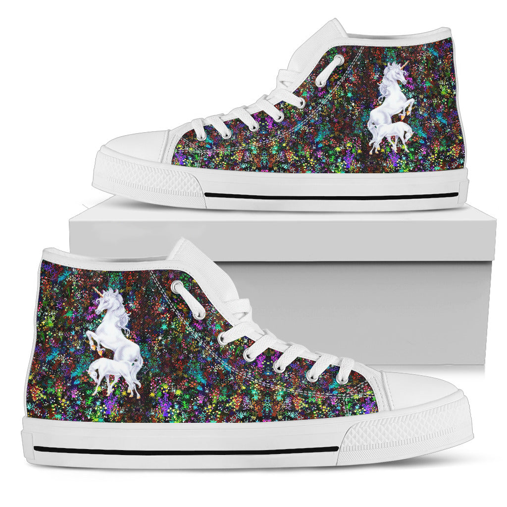 Mama And Baby Unicorn Tiny Floral Awesome Black High Top Shoes ... 120dc5f25