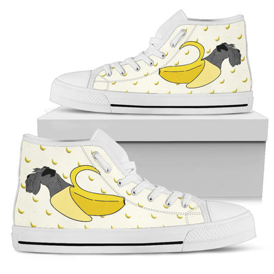 High Top Shoes Schnauzer Inside Banana Funny Gift