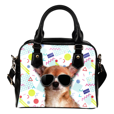 Chihuahua Wearing Sunglasses Fashionable Pattern Shoulder Handbag