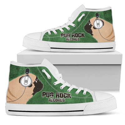 Pug Green Rock Records High Top Shoes