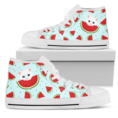 Eating Watermelon Cat Pattern High Top Shoes