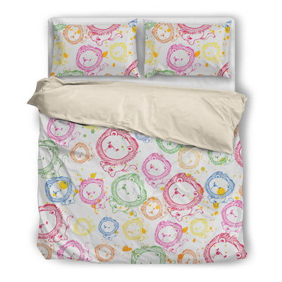 Brusher Lion Colorful Watercolor Random Lovely Bedding Set