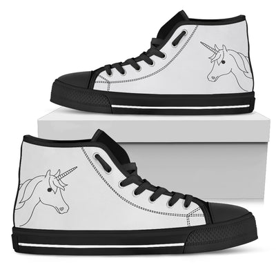 Simple Unicorn Face Cute Black And White High Top Shoes
