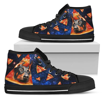 Pizza Doberman Pattern High Top Shoes