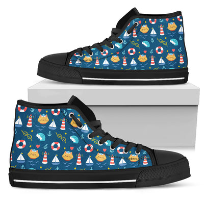 Nautical Cat Fabric Pattern High Top Shoes