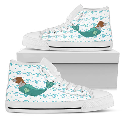 High Top Shoes Beagle Mermaid Unicorn Cute Beach Swim