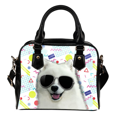 Samoyed Wearing Sunglasses Fashionable Pattern Shoulder Handbag