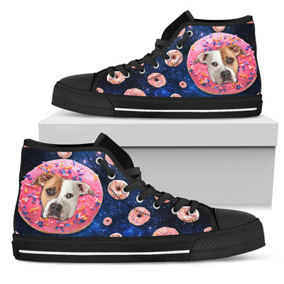 Donut Pitbull Pattern High Top Shoes