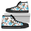 Coffee Boxer Fabric Pattern High Top Shoes