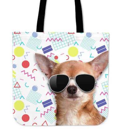 Chihuahua Wearing Sunglasses Fashionable Pattern Tote Bag