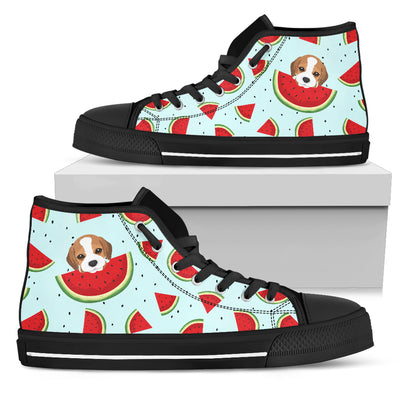 Eating Watermelon Beagle Pattern High Top Shoes