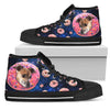 Donut Greyhound Pattern High Top Shoes