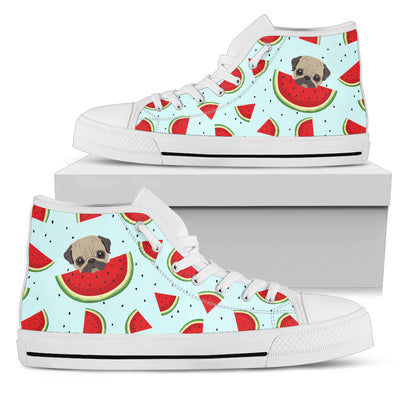 Eating Watermelon Pug Pattern High Top Shoes