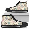 Light Gold Background Morning Coffee Pattern High Top Shoes
