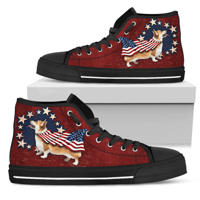Corgi Independence Day High Top Shoes