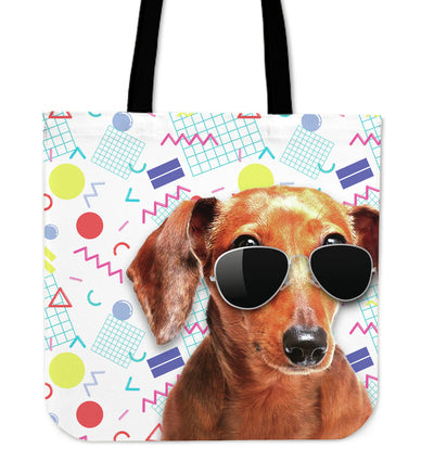 Dachshund Wearing Sunglasses Fashionable Pattern Tote Bag