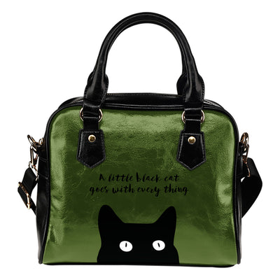 A Little Black Cat Goes With Everything Shoulder Handbag Awesome Gift For Girls