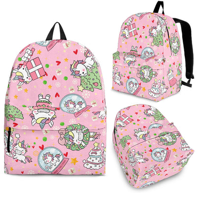 Unicorn With Christmas Tree And Gift Pattern Backpack