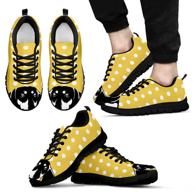 Dachshund Face Pastel Yellow White Dot Vintage Sneakers