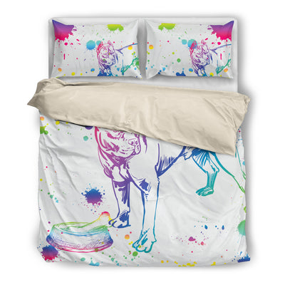 Pitbull Watercolor White Background Bedding Set