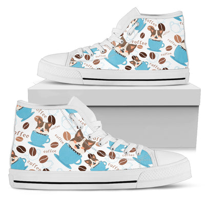 Coffee Pitbull Fabric Pattern High Top Shoes