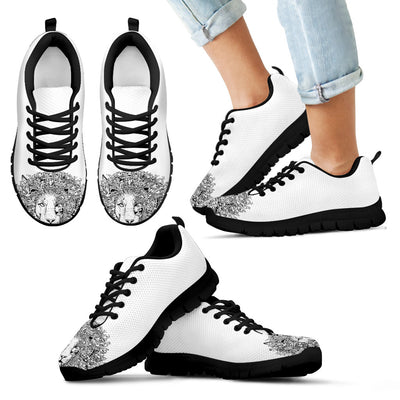 Lion Black White Doodle Stylish Sneakers