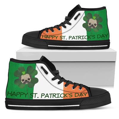 Happy St. Patrick's Day Pug High Top Shoes
