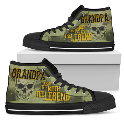 Grandpa The Men The Myth The Legend Vintage Design High Top Shoes V1