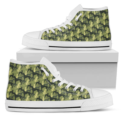Camouflage Soldier Military Greyhound High Top Shoes