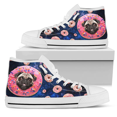 Donut Pug Pattern High Top Shoes