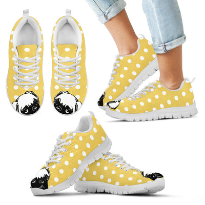 Pug Face Pastel Yellow White Dot Vintage Sneakers