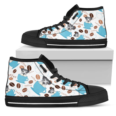 Coffee Schnauzer Fabric Pattern High Top Shoes