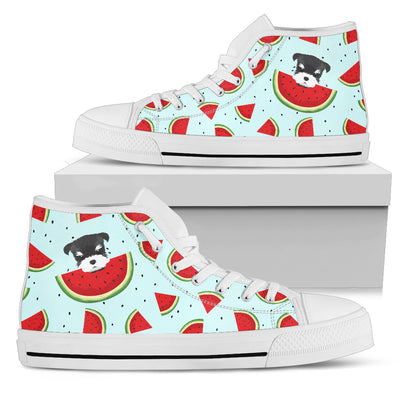 Eating Watermelon Schnauzer Pattern High Top Shoes