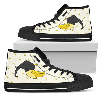 High Top Shoes Elephant Inside Banana Funny Gift