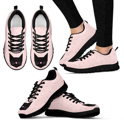 Black Cat Pink Style White Lovely Couple Charming Fabulous Sneakers