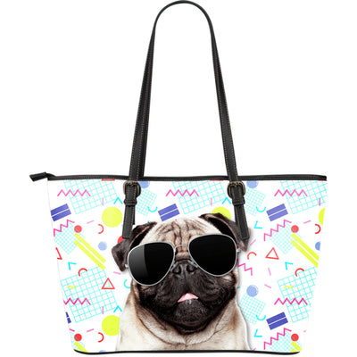 Pug Wearing Sunglasses Fashionable Pattern Leather Bag
