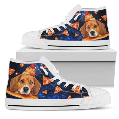 Pizza Beagle Pattern High Top Shoes
