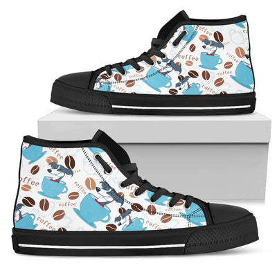 Coffee Greyhound Fabric Pattern High Top Shoes